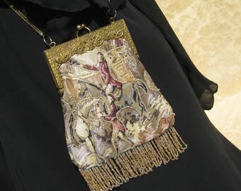 Victorian Style Purse, Beaded Tapestry, Brass Frame Purse