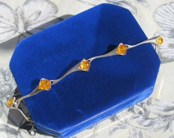 Calla Lilly Amber and Sterling link Bracelet