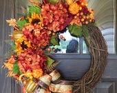 Fall Wreath | Thanksgiving Wreath | Fall Decorations | Door Wreaths By Trina on Etsy