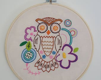 Hand embroided owl