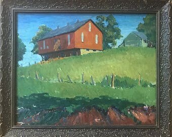 Vintage Signed Original Oil Painting Landscape By Listed Ohio Artist Leroy D. Sauer
