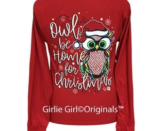 Girlie Girl Originals Owl Be Home For Christmas Red Long Sleeve T-Shirt