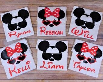 Disney Family shirts, Disney Family custom shirts, Mickey sunglasses, minnie sunglasses, family matching shirts, Custom family shirts
