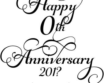 Instant Print Download 2017 Happy 10th Anniversary Wine Label