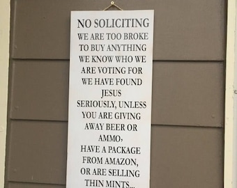 ON SALE NO Soliciting sign - funny porch signs - funny no soliciting sign - thin mints sign - we have found jesus - front porch signs - porc