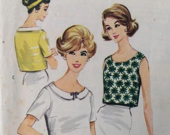 McCall's 4933 vintage 1950's misses blouse sewing pattern size 12 bust 32  Easy to Sew