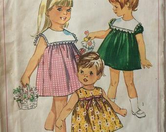 Simplicity 6565 vintage 1960's toddler girls dress sewing pattern size 2