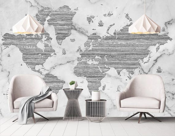 Marble world map removable wallpaper peel stick black white like this item gumiabroncs Image collections