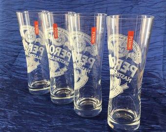2 of 8 Italy Peroni Beer Glasses Pilsner Tumblers .40 liter advertizing Italian