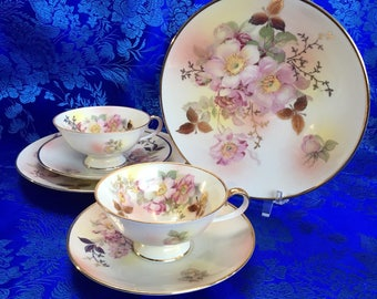 2 sets of Schumann Auzberg Germany Bone China Tea Cups, Saucers and Snack Plates Mint