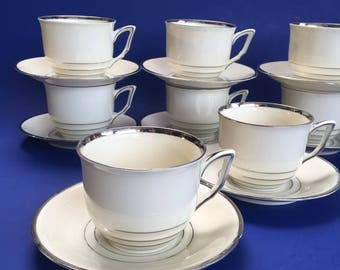 4 of 8 White German Vintage Demitasse Coffee Cups and Saucers Porcelain Espresso