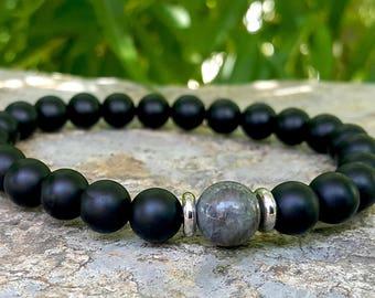 Mens Strength & Protection Mala Bracelet, Labradorite, Black Onyx Mala Bracelet, Yoga Bracelet, Mens Jewelry, Meditation Bracelet
