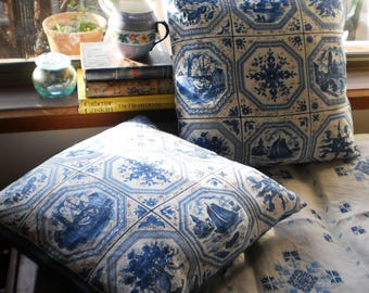 Linen Cushion Cover.  Blue and White Cushion Cover.  Vintage Fabric Cushion Cover.