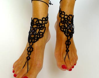Barefoot sandals, ankle completely handmade tatting lace motif jewelry glass beads