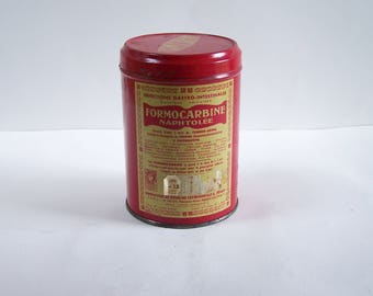 "Red tin box ""Formocarbine"" french medicine vintage 1960 Made in France"
