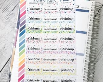 S-513 || Celebrate, Anniversaries, Birthdays HALF Box Sticker for Erin Condren Planner (24 Removable Matte Stickers)