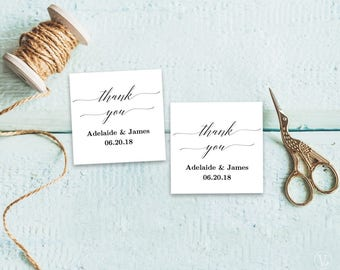 Printable Wedding Favor Tags, Wedding Favor Tag Template, Thank You Tag, Favor Tags, DITABLE Text, 2x2 inches, FT12, Greenery, Peach Blush