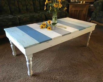 Reclaimed Wood Coffee Table, Reclaimed Wood Beach Table, Beachy Coffee Table