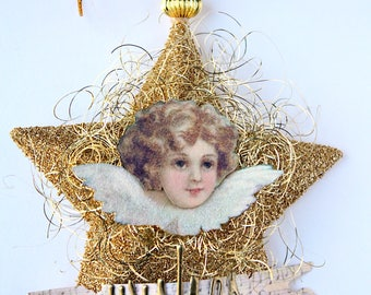 """Gold """"Wishes"""" Christmas Angel Star Ornament"""