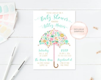 Umbrella Baby Shower Invitation, Floral Baby Shower Invitation, Girl Baby Shower, Baby Shower Invites, Baby Shower, Custom Invitation, [476]