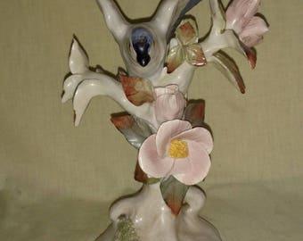 Vintage Cordey Blue Bird & Flowers Porcelain Lamp Figurine