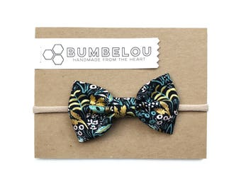 Classic Fabric Bow -  Menagerie Tapestry Metallic Midnight Rifle Paper Co.  - One Size Headband or Clip for Baby and Toddler