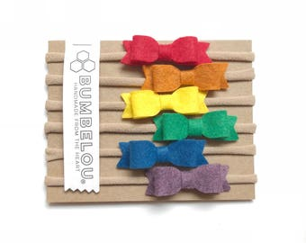 6 mini bows - One Size Fits All Nylon - Rainbow Bright Collection