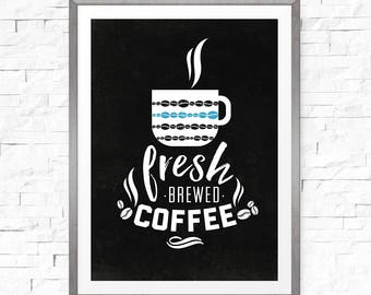 Coffee sign, Fresh brew coffee sign, Instant download, Cafe decor, Fresh coffee sign, Cafe sign, Cafe sign, Coffee sign download