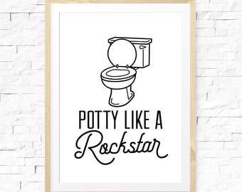 Potty like a rockstar, Printable Print, Funny bathroom art, Bathroom decor, Kids bathroom art, Funny wall art, Funny bathroom signs