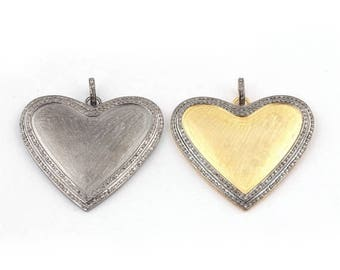 VALENTINE DAY SALE 1  Pc Pave Diamond Heart Matte Finish Pendant 925 Sterling Vermeil & Silver  Pendant (you-choose)40mmx45mm Pd1411