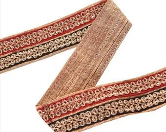 KK Indian Embroidered Prom Dress Border 1 Yd Trim Red Black Craft Lace Zari Work