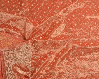 KK Heavy Dupatta Tissue Stole Hand Beaded Woven Zardozi Pink