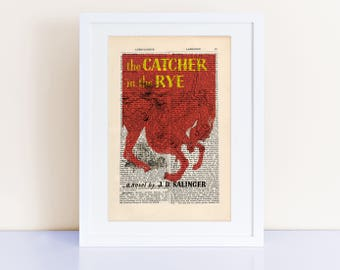 The Catcher in the Rye by JD Salinger Print on an antique page, book cover art, bookish gifts