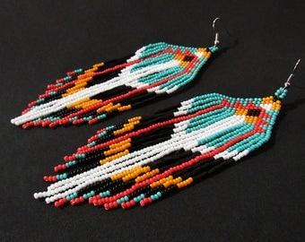 Native American Beaded Earrings, Native American Beaded Jewelry, Boho Earrings, Antique Style Jewelry, Southwest Earrings, Huichol Beadwork
