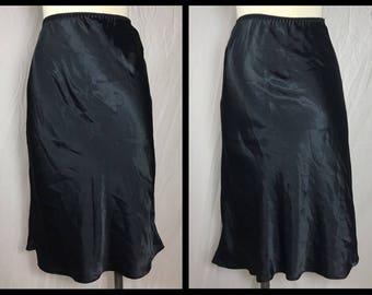 1970s or 80s Black Satin Half Slip in Below Knee Length for I. Magnin - Size Small