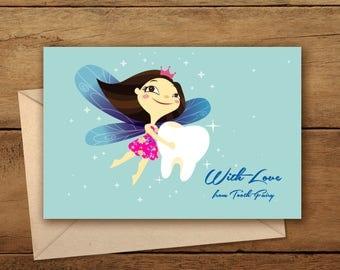 Tooth Fairy Card| Printable Tooth Fairy Card| Printable Lost Tooth Card| With Love Tooth Fairy Card| Printable Fairy Card| Lost Tooth Card