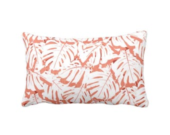 "Palm Print Throw Pillow, Coral & White 13 x 21"" Lumbar OUTDOOR or INDOOR Pillows, Pink/Orange/Red Tropical Leaf Pattern"