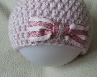 baby born noouveau pink crochet bow Hat handmade
