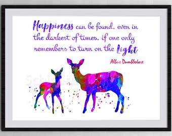 Harry Potter Watercolor Art Print  - Happiness can be found Dumbledore Quote - Harry Potter Doe's Watercolor Art Print Kid's Room Decor #2