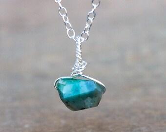 Emerald Necklace - May Birthstone - Emerald Jewelry - Emerald Pendant - Natural Emerald - Raw Emerald - Rough Emerald