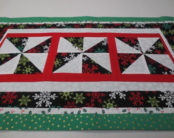 Christmas Table Runner, Patchwork Christmas Table Runner, Black Snowflake Table Runner