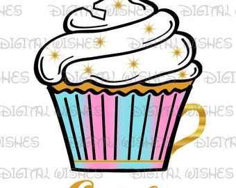 Chip From Beauty And The Beast Cupcake Image PERSONALIZED Name Digital Iron On Transfer Clip Art