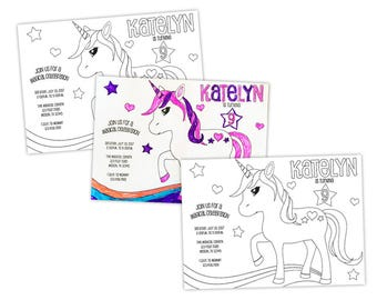 Personalized Unicorn Invitations - Color Your Own Unicorn Birthday Invitation - Girl Coloring Kit - Magical Birthday Craft Kit - Enchanted