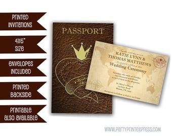 Passport Wedding Invitation - Passport Invitation - Passport Invites - Wedding Invitation - Unique Wedding Invitation - Brown Leather - Gold