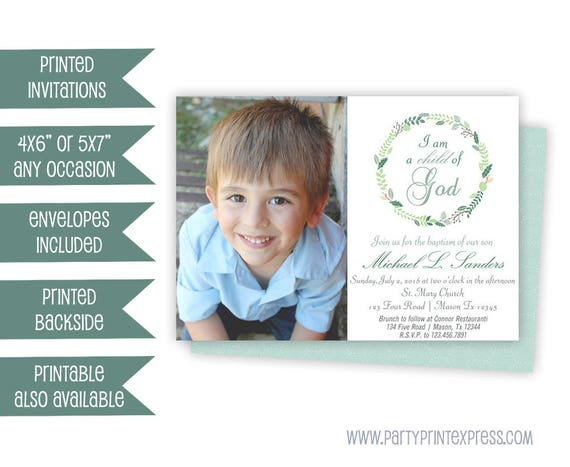 Photo Boy Baptism Invitation Blue Baptism Invitations Boy