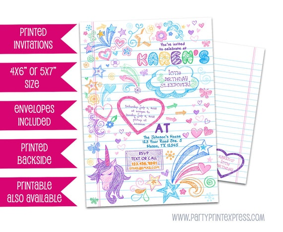 Notebook doodle invitation sleepover invitations notebook il570xn solutioingenieria Images