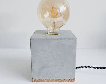 Tablelamp Cement Concrete Cube