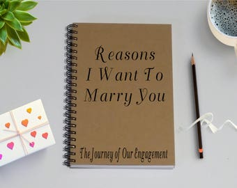 Couples Journal, Reasons I Want to Marry You, The Journey of Our Engagement, - 5 x 7 Journal, Love Diary, Love Journal, Couples Scrapbook