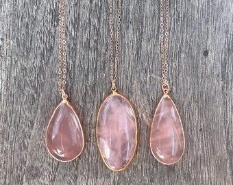 Rose Quartz Necklace // Rose Quartz Rose Gold Necklace // Rose Quartz Pendant Necklace