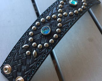 Leather western studded bracelet rockabilly